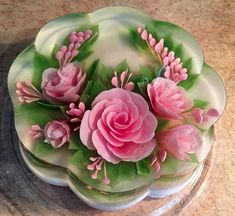Gelatin cake Creative Cakes, Creative Food, Puding Art, 3d Jelly Cake, Jelly Flower, Jello Cake, Jello Recipes, Just Cakes, Food Decoration