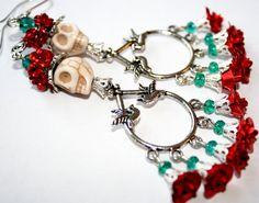 Sugar Skull Earrings Red Roses Catrina Frida Kahlo by Exgalabur, $16.00