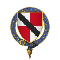 "Arms of Baron Sir Nele ""Nigel"" Loring, KG, my 20th Great Grandfather.  Veteran of the Hundred Years War battles of Sluys, Poitiers, and Najera and the Siege of Calais.  One of the founding Knights of the Order of the Garter, established by King Edward III."