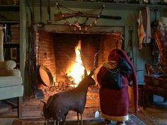 Old Santa & Rudolph...watching the fire glow.