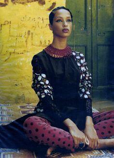 """""""Les Soleils Rouges D'Afrique"""", ELLE France, July 1993Photographer: Friedmann HaussModel: Brandi Quinones"""
