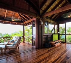 """Zabuco Villa at Secret Bay on Dominica - the """"Nature Island of the Caribbean"""" Caribbean Homes, Cottage In The Woods, Timber House, All I Ever Wanted, Beautiful Hotels, Living Spaces, Living Room, Interior Decorating, Interior Design"""