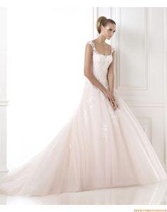 2015 A-linie Romantische Traumhafte Brautkleider aus Softnetz mit Applikation