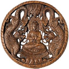 Round Buddha with Dragon Carved Wood Wall Art Decor. Wooden Wall Panels, Wood Panel Walls, Panel Wall Art, Carved Wood Wall Art, Wooden Wall Art, Asian Home Decor, Wood Texture, Wall Plaques