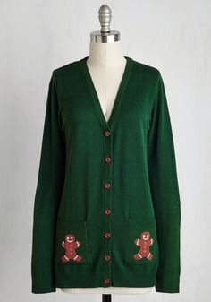 Bake the Best of It Cardigan by ModCloth - Holiday, Gifts2015, Mid-length, Knit, Green, Multi, Print, Buttons, Pockets, Quirky, Long Sleeve, Best, Exclusives, Private Label, V Neck, Novelty Print