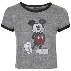 TOPSHOP Mickey Tee found on Polyvore featuring tops, t-shirts, crop tops, shirts, grey, gray top, grey t shirt, gray tee, vintage style t shirts and topshop