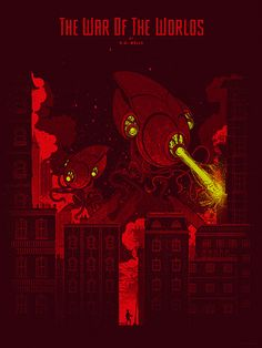HG Wells Screen Printed Poster by Kevin Tong Illustration