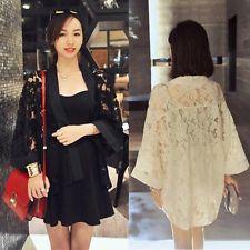 Women Lace Stitching Loose Kimono Cardigan Jacket Shirt Blouse Tops Free P&P