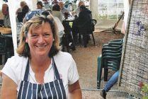 Rosie Weston. Vineyard Cafe, Sharpham Vineyard, Devon. A great way to enjoy a glass of Sharpham wine is with Rosie's cooking!