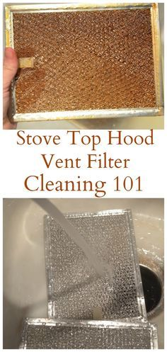 Stove Top Hood Vent Filter Cleaning 101. Soak it in a tub so grease doesn't go down the drain.