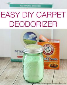 Freshen those carpets with this easy to make, all natural homemade carpet deodorizer.