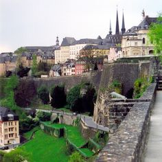 The Casemates de Petrusse beneath the spires of Cathedrale Notre-Dame - Luxembourg City, Luxembourg.