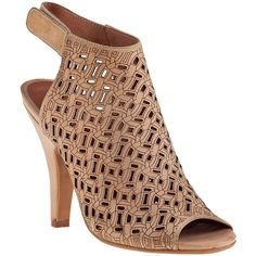 JEFFREY CAMPBELL Norene Open-Toe Bootie Nude Leather (145 SAR) ❤ liked on Polyvore featuring shoes, nude leather, open toe slingback shoes, slingback shoes, hooks shoes, high heel shoes and high heel slingback shoes
