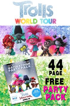 Free Printable Trolls World Tour Party Pack. Full of coloring pages, printable activities including Poppy's pink glitter microphone, Tiny Diamond's glasses, concert wristbands and lots more.