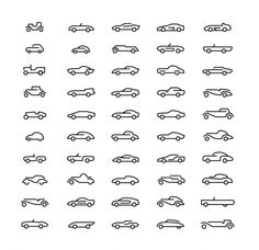 Amazing cars-in-line icons #icons