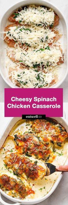 Spinach Chicken Casserole with Cream Cheese and Mozzarella - All of the delicious flavors of cream cheese, spinach, and chicken are packed into this delicious dinner recipe!