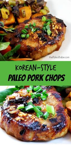 Super simple and fast to make, these Korean-style #Paleo pork chops melt in your mouth. Yum. #glutenfree #soyfree #whole30