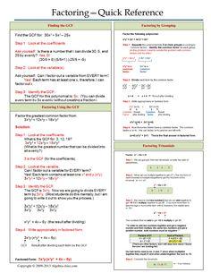 One page notes worksheet for Factoring Unit - Unterrichtsfächer Math Teacher, Math Classroom, Teaching Math, Teaching Tools, Math Cheat Sheet, Cheat Sheets, Maths Algebra, Algebra Interactive Notebooks, Algebra Help