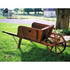 #Amish Large #Wooden #Wheelbarrow with Removable Sideboards