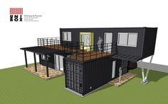 "Location : 경기도 양평 Area : 건축연면적 약 50평형의 2층 규모 컨테이너하우스(서비스면적 포함(데크)) 내부 공간 구성의 효율성을 우선으로 컨테이너 블록 조합을 하여 독특한 매스형태로 디자인 된 하우스 ""..."