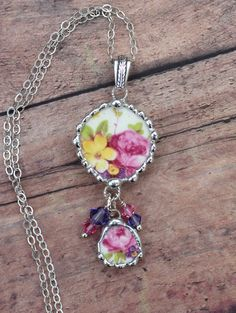 Broken China Jewelry Round China Necklace by Robinsnestcreation1
