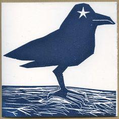 Atelier Marik: Calendrier de l'Avent en gravure, Oiseau bleu.