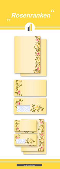 Briefpapier / Motivpapier ROSENRANKEN - Sagen Sie es »durch die Blume« mit unseren variantenreichen Blütenmotiven oder Designs aus vielen anderen Themenbereichen, um einem persönlichen Schreiben den richtigen Rahmen zu verleihen. Das Verwenden Sie unsere Produkte als Werbewirksame Zielgruppenmailings, Weihnachtsgrüße, für Angebote, als Saison-Briefpapier, für Einladungen, Glückwünsche, Speisekarteneinlagen, Aktionsprogramme, Feste, als Aushang im Schaufenster und für weitere tausend Anlässe.