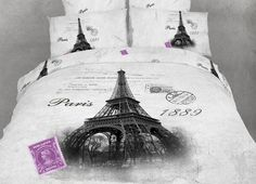 It's Here! Eiffel Bedding Paris Themed Full/Queen Comforter Cover Duvet Set by Dolce Mela @ www.designedtoinspirebedding.com