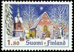 Joulupostimerkki 1992 1/2 - Helsingin Pitäjän (Vantaan) kirkko
