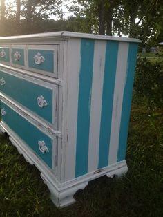 Aqua and White Dresser