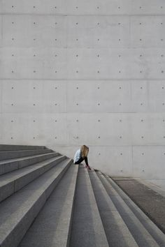 Concrete stairs with typewriter shot with leading lines perspective.