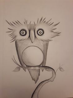 Funky owl...charcoal Charcoal, Character Design, My Arts, Owl, Sketches, Bird, Artwork, Painting, Animals