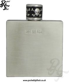 Q-Bic Brushed Pewter Hip Flask with Skull and Cross Bones Cap