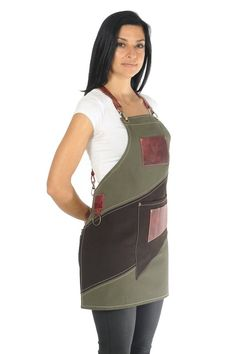 """Cafe apron, luxury item, premium quality leather & cotton, w/ accessories pockets, """"Khaki / Dark Brown and Minoan Red"""" - LOSTRIS GAMMA Luxury Cafe, Cafe Apron, Barber Apron, Restaurant Uniforms, Leather Suspenders, Barista, Denim Crafts, Sewing Aprons, Khaki Green"""
