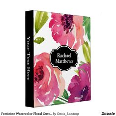 Feminine Watercolor Floral Custom Binder - A feminine custom 3-ring binder for home or office, this lovely design features a watercolor floral pattern in shades of pink, purple and green. Accented with a black monogram frame and black spine, customize with your information by replacing the sample text. Sold at Oasis_Landing on Zazzle. #Zazzle