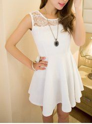 $7.94 Sweet Style Round Collar Sleeveless Solid Color Lace Splicing Dress For Women