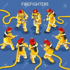 Illustration of Firefighters with Hydrant Set Interacting People Unique IsometricRealistic Poses. NEW lively palette Flat Vector Icon Set. Assemble your Own World vector art, clipart and stock vectors. Icon Set, Textures Patterns, Vector Art, Vintage Shops, Firefighters, Disney Characters, Fictional Characters, Poses, Stock Photos