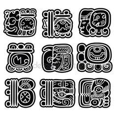Systém mayského písma, Maya glyfy a jazykové mutace vektorová design — Stock Vektor © RedKoala #114347504