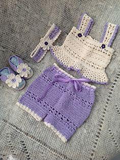 Ravelry: Daisy Tank and Short Set pattern by Maria Bittner Baby Girl Crochet, Crochet Baby Clothes, Baby Kids Clothes, Crochet For Kids, Doll Clothes, Crochet Summer, Crochet Shorts, Knit Crochet, Baby Patterns