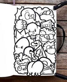 JTense (@jtense_art) • Instagram photos and videos Cute Doodle Art, Doodle Art Designs, Doodle Art Drawing, Dark Art Drawings, Cute Doodles, Art Drawings Sketches, Graffiti Doodles, Graffiti Cartoons, Graffiti Drawing