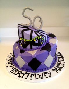Topsy Turvy Masquerade Theme 50th Birthday Cake