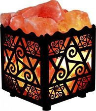 Himalayan Salt Lamp Natural Base Crystal Decor Star Design Metal Basket Cord New