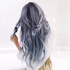 lovely long pastel hair in a beautiful light grey blue color. I just love this style!!