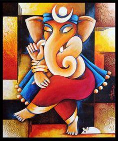 Ganesha on 4 canvases Ganesha Drawing, Lord Ganesha Paintings, Ganesha Art, Krishna Painting, Krishna Art, Ganesh Rangoli, Sri Ganesh, Mural Painting, Mural Art