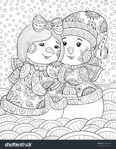 Snowman Coloring Pages for Adults New Adult Coloring Page Book A Cute Pair Of Snowmen Wearing Snowman Coloring Pages, Adult Coloring Book Pages, Printable Adult Coloring Pages, Colouring Pages, Free Coloring, Coloring Books, Silkscreen, Christmas Coloring Sheets, Kids Prints