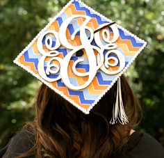 my monogrammed graduation cap!        how i made it: printed out my initials and traced them onto foam board and used an x-acto knife to cut them out!