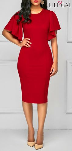 Round Neck Back Slit Red Sheath Dress #liligal #dresses #womenswear #womensfashion