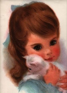 VINTAGE PRINT POSTER Little Girl with White Kitten Print Big Eyes