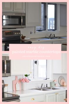 DIY marble painted countertops - peonies on pleasant Countertop Paint Kit, Painted Countertops, Kitchen Reno, Diy Kitchen, Kitchen Design, Diy Home Decor Bedroom, Diy Home Decor On A Budget, Marble Painting, Painted Trays