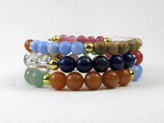 7 Chakra Gemstone Memory Wire Bracelet for Spiritual Growth, 8mm and 6mm #bc124